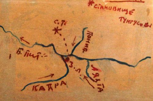 Рис. 2. Местоположение шаманского чума: с.т. — становище тунгусов, з.л. — зимовье Лаптенко