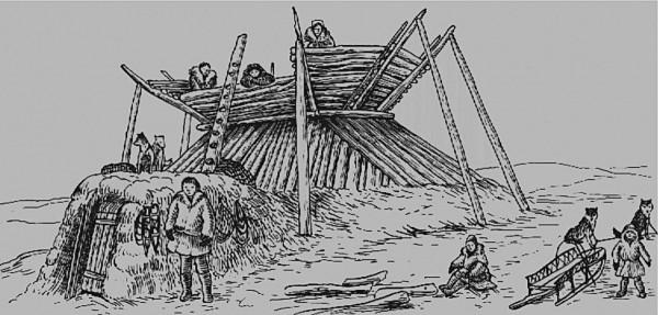Рис. 10. Зимнее жилище (землянка) коряков. Рисунок конца XIX в.
