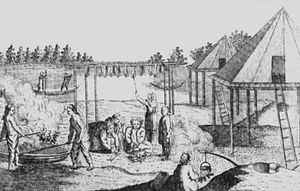 Рис. 11. Ительменское селение с летними балаганами. Рисунок XVIII в.