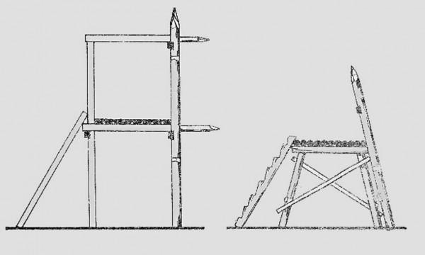 Рис. 14. Конструкция острожных стен. Слева – острожная (тыновая) стена, усиленная «иглами»; справа – «косой» острог на «козелчатом» помосте.