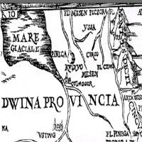 Тюмень (Чинги-Тура) на карте Сигизмунда фон Герберштейна опубликованной в 1549 году. Источник: Википедия