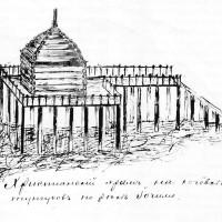 Рисунок христианского храма на кочевке тунгусов на реке Иочимо