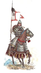 Рис. 1. Знатный джунгарский латник кон. XVII в. в доспехах тибетского типа (Тауэр)