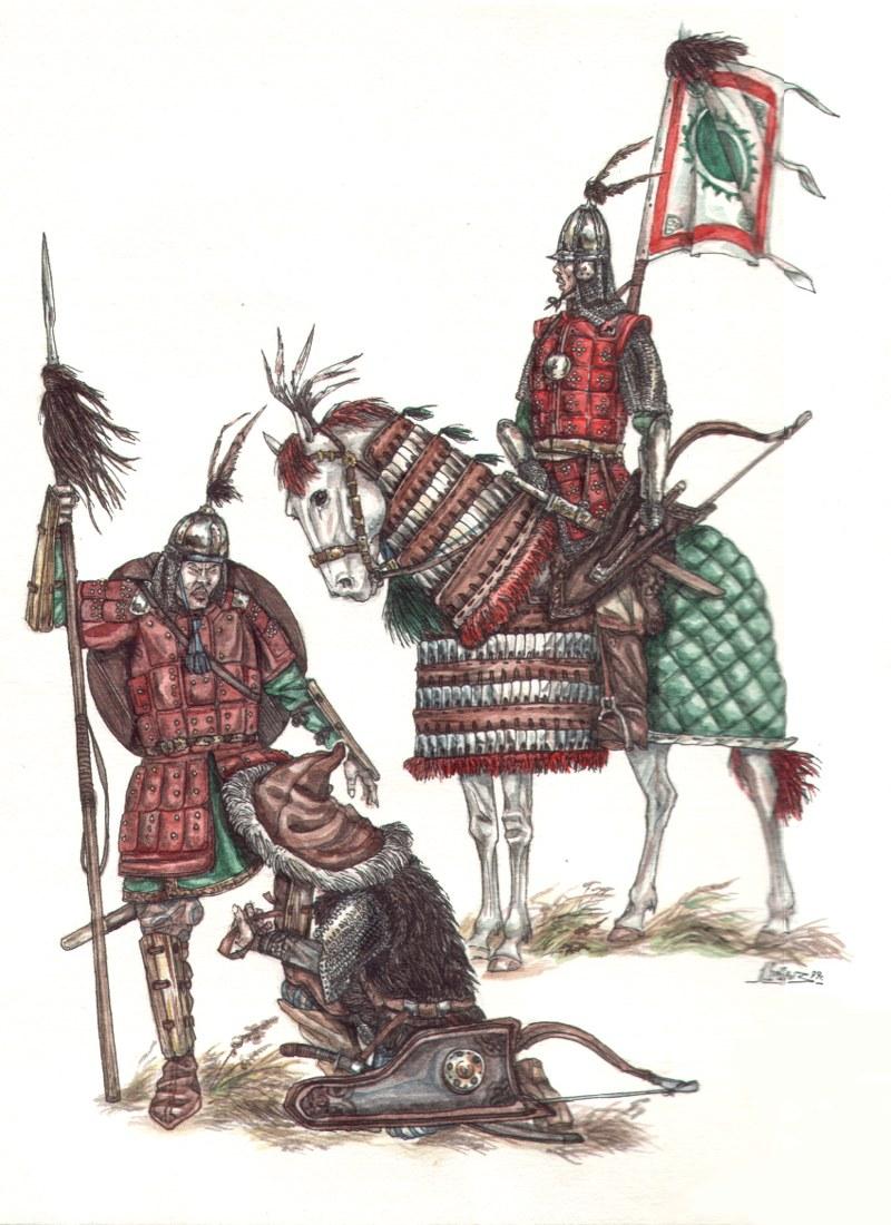 Рис. 3. Кыргызский воин XIV в.; Кыргызский кыштым.; Знатный кыргызский латник XVII в.