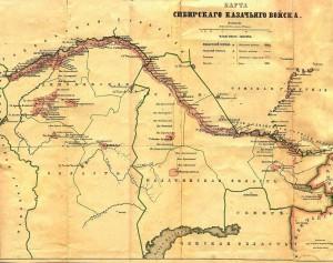 Карта Сибирского казачьего войска