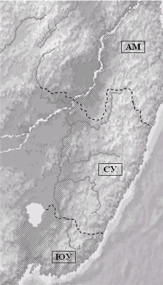 Рис. 2. Схема районирования Приморской области по краям