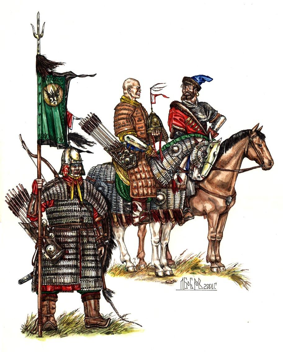 Рис. 4. Галдан Бошокту-хан и русский посол Киберев наблюдают за ходом боя у оз. Ологой 21 июля 1690 г.