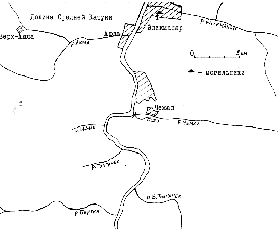 Карта района: долина Средней Катуни.