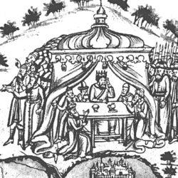 Кучум обсуждает с мурзами чудесное видение (Ремезовская летопись)