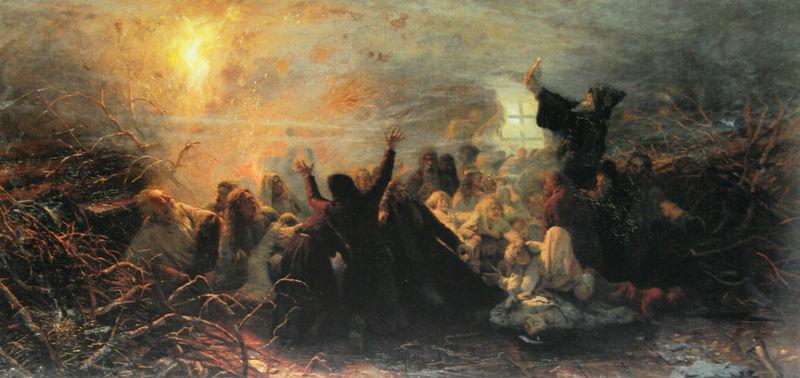 Картина Григория Мясоедова «Самосожигатели»