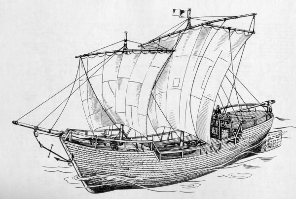 Рис. 6. Коч. Русское мореходное судно XVII века. Реконструкция.