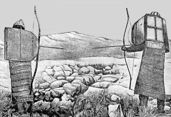 Коряки в боевом облачении. Конец XIX в. Из работы В. Иохельсона «The Koryak».