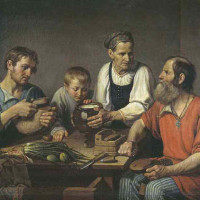 Солнцев Ф.Г. Крестьянское семейство перед обедом. 1824.