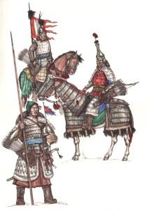 Рис. 4. Телохранитель «хя» перед юртой владетельного князя; Владетельный монгольский князь (сер. XVII в.); Ойратский «лубчитэн-тогчин» во время зимней кампании 1696 года