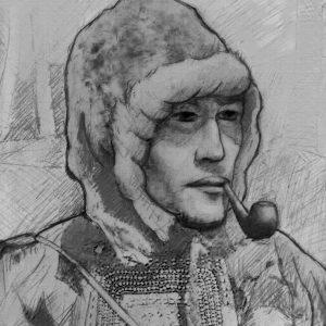 В. В. Коневский в эвенкийском костюме — рисунок М. Лакосты